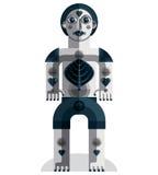 Meditation theme vector illustration, drawing of a creepy creatu Stock Photo