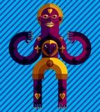 Meditation theme vector illustration, drawing of creepy creatu Royalty Free Stock Images