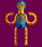 Meditation theme vector illustration, drawing of a creepy. Creature made in modernistic style. Spiritual idol created in cubism style Stock Photos