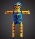 Meditation theme vector illustration, drawing of creepy creature Royalty Free Stock Photo