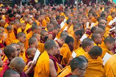 Meditation of Tibetan Buddhist Monks Stock Photos