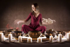 Meditation with Tibetan singing bowls Royalty Free Stock Photo