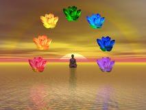 Meditation und chakras lizenzfreie abbildung