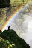 Meditation under the rainbow Stock Photo