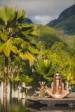 Meditation while on vacation in Hawaii. Royalty Free Stock Image