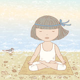 Meditation. Vector drawing of a little girl on seacoast at meditation Royalty Free Stock Images