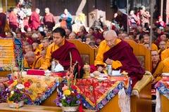 Meditation von tibetanischen buddhistischen Mönchen Stockfotos