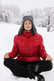 Meditation winter Stock Images