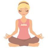Meditation woman. Blonde woman in yoga meditation pose Royalty Free Stock Photo