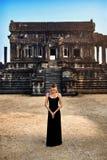 Meditation. Woman Meditating At Angkor Wat Temple, Cambodia. Royalty Free Stock Photos
