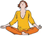 Meditation. Woman meditating in lotus position Royalty Free Stock Photography
