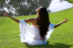 Meditation of woman outdoors Stock Photography