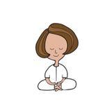 Meditation woman. Sitting cartoon Stock Photography