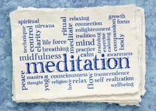 Meditation word cloud on textured paper. Handmade Khadi rag paper royalty free stock images
