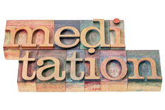Meditation word in wood type Royalty Free Stock Image