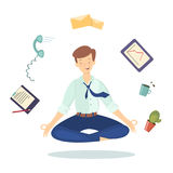 Meditation at work. Man in lotus pose between working tools on white background vector illustration