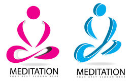 Meditation or yoga 3D logo Royalty Free Stock Image