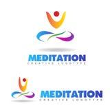 Meditation yoga logo. Meditation or yoga logo with a silhouette Royalty Free Stock Photo