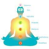 Meditation yoga man with chakras vector illustration. Meditation yoga man with chakras. vector illustration Royalty Free Stock Images