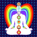 Meditation yoga man with chakras vector illustration. Meditation yoga man with  a chakras. vector illustration Royalty Free Stock Photos