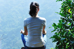 meditation yoga mountain top  Stock Photo
