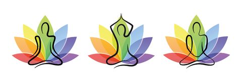 Meditation yoga set with colorful lotus flower vector illustration