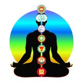 Meditation yoga silhouette man with chakras vector illustration Stock Photos