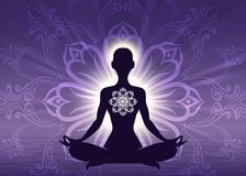Meditation yoga woman silhouette. On sunrise violet background, vector illustration Royalty Free Stock Photography