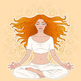 Meditation. Young woman in yoga meditation pose royalty free illustration