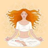 Meditation. Young woman in yoga meditation pose Stock Photos