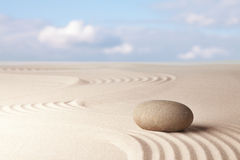 Meditation zen sand and stone garden Royalty Free Stock Photo
