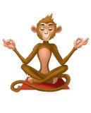Meditationapan i en yoga poserar vektor illustrationer