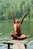 Meditationasiatjunge Stockbild
