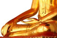 Meditationbuddha staty som isoleras på vit bakgrund Arkivbild
