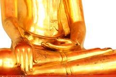 Meditationbuddha staty som isoleras på vit bakgrund Fotografering för Bildbyråer