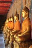 Meditationbuddha statyer i watarun bangkok fokuserar på den högra statyn Arkivbild