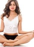 meditationen poserar kvinnabarn Arkivfoto