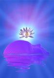 Meditationgesicht und -lotos lizenzfreie abbildung