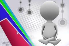 meditationillustration för man 3d Arkivfoto
