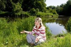 meditationkvinna Fotografering för Bildbyråer