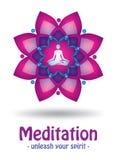 Meditationlogodesign vektor illustrationer