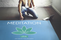 Meditations-Gesundheitswesen Lotus Flower Graphic Concept Stockfotos