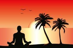 meditationsolnedgång Arkivbild