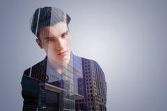 Meditative guy visualizing modern city Stock Images