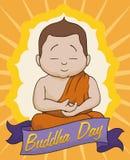 Meditative Scene in Buddha Day, Vector Illustration Stock Photography