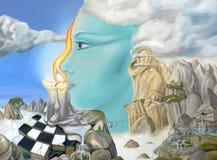 Meditazione con i temi surreali Fotografia Stock Libera da Diritti