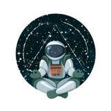 Meditazione cosmica di conoscenza nello spazio con il giro delle stelle isolato su bianco illustrazione di stock
