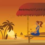 Meditazione della donna alla spiaggia royalty illustrazione gratis