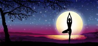 Meditazione della siluetta con la natura Immagini Stock Libere da Diritti