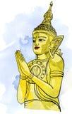 Meditazione di Buddha della statua nel nirvana, stile tailandese, pic royalty illustrazione gratis